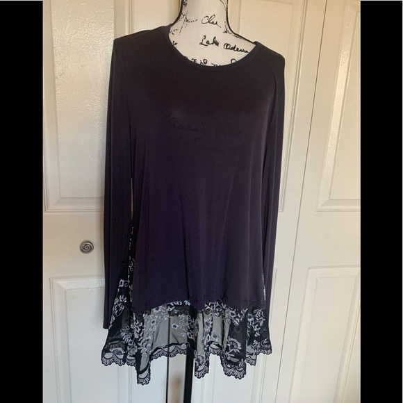 LOGO Navy Blue long sleeve tunic with lace